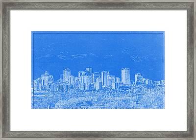 Edmonton Canada Blueprint Framed Print by Celestial Images
