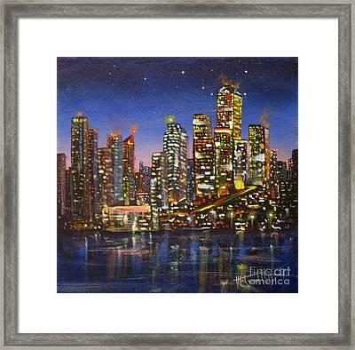 Edmonton Night Lights Framed Print by Mohamed Hirji
