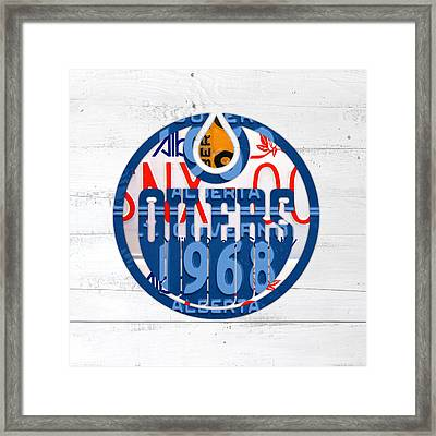 Edmonton Oilers Hockey Team Retro Logo Vintage Recycled Alberta Canada License Plate Art Framed Print by Design Turnpike