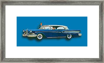 Edsel Citation Car Advertisement Sedan Blue Framed Print by Tony Rubino