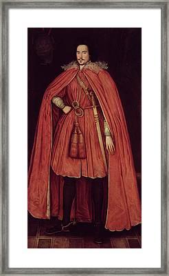Edward Herbert, Lord Herbert Of Cherbury, C.1604 42 Oil On Canvas Framed Print by Robert Peake