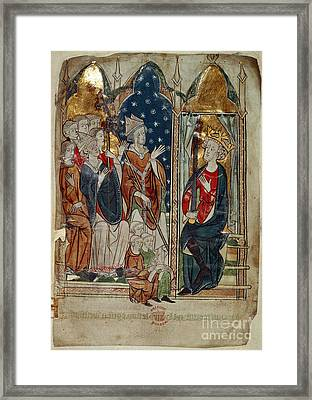 Edward I And His Court Framed Print by British Library