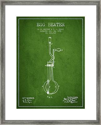 Egg Beater Patent From 1891 - Green Framed Print by Aged Pixel