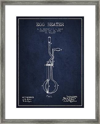 Egg Beater Patent From 1891 - Navy Blue Framed Print by Aged Pixel