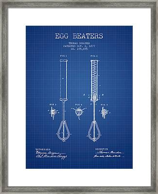 Egg Beaters Patent From 1877 - Blueprint Framed Print by Aged Pixel