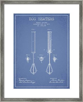 Egg Beaters Patent From 1877 - Light Blue Framed Print by Aged Pixel