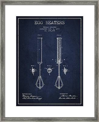 Egg Beaters Patent From 1877 - Navy Blue Framed Print by Aged Pixel