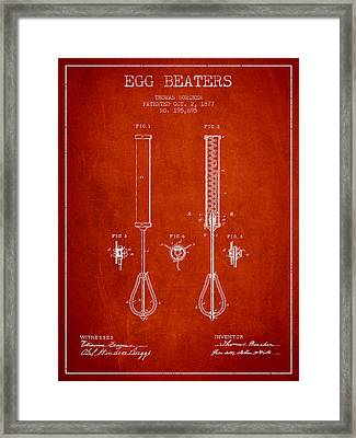 Egg Beaters Patent From 1877 - Red Framed Print by Aged Pixel