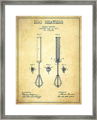 Egg Beaters Patent From 1877 - Vintage Framed Print by Aged Pixel