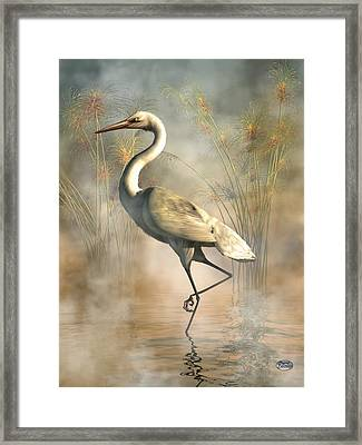 Egret Framed Print by Daniel Eskridge