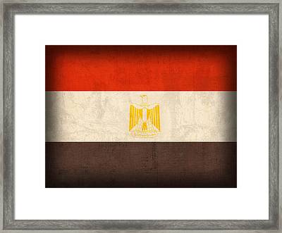 Egypt Flag Distressed Vintage Finish Framed Print by Design Turnpike