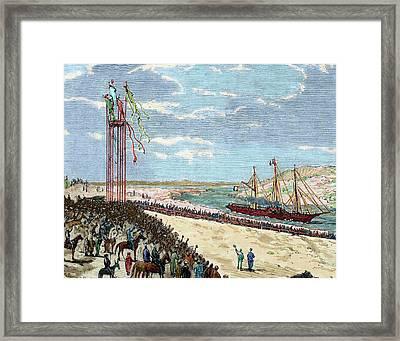 Egypt Isthmus Of Suez Arrival Framed Print by Prisma Archivo