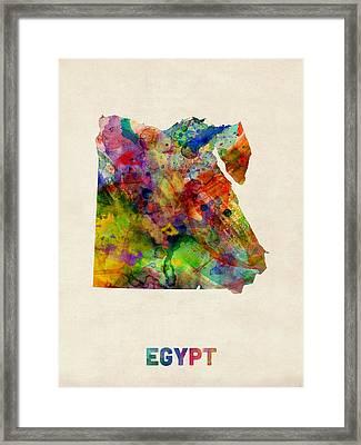 Egypt Watercolor Map Framed Print by Michael Tompsett