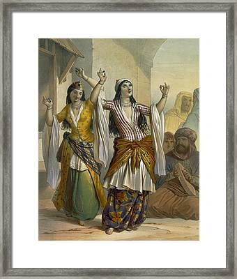 Egyptian Dancing Girls Performing Framed Print by Emile Prisse d'Avennes