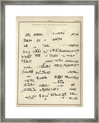 Egyptian Manuscript Fragments Framed Print by Middle Temple Library