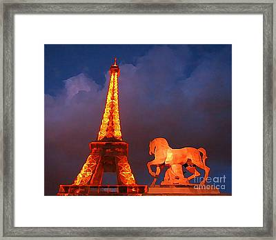 Eiffel Tower And Horse Framed Print by John Malone