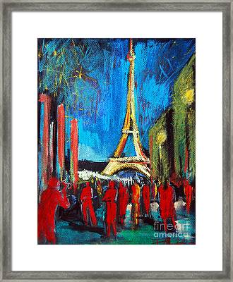 Eiffel Tower And The Red Visitors Framed Print by Mona Edulesco
