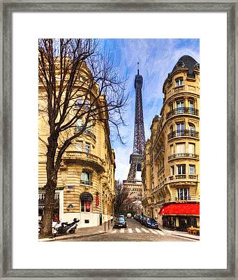 Eiffel Tower And The Streets Of Paris Framed Print by Mark E Tisdale