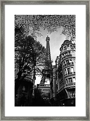Eiffel Tower Black And White Framed Print by Andrew Fare