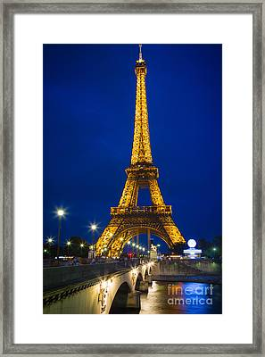 Eiffel Tower By Night Framed Print by Inge Johnsson