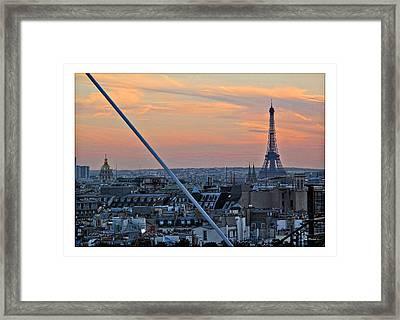 Eiffel Tower From Above Framed Print by Joan  Minchak