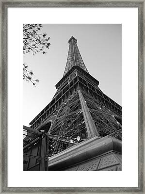 Eiffel Tower In Black And White Framed Print by Jennifer Ancker