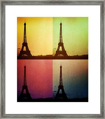 Eiffel Tower In Sunset Framed Print by Marianna Mills