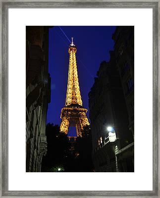 Eiffel Tower Paris France At Night Framed Print by Patricia Awapara