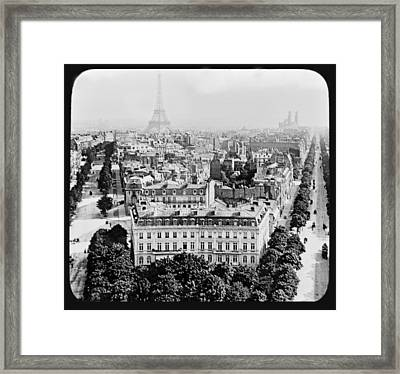 Framed Print featuring the photograph Eiffel Tower Paris Rooftops1903 by A Gurmankin