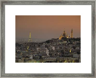 Eiffel Tower Sacred Heart Paris France Framed Print by Panoramic Images