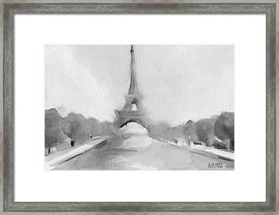 Eiffel Tower Watercolor Painting - Black And White Framed Print by Beverly Brown Prints