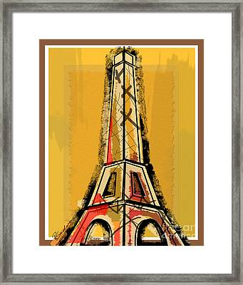 Eiffel Tower Yellow Black And Red Framed Print by Robyn Saunders