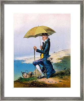 Eight Hours At Seaside For Three Framed Print by English School