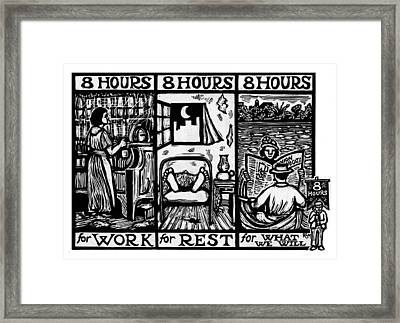 Eight Hours Framed Print by Ricardo Levins Morales