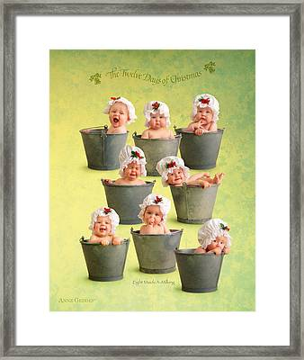 Eight Maids-a-milking Framed Print by Anne Geddes