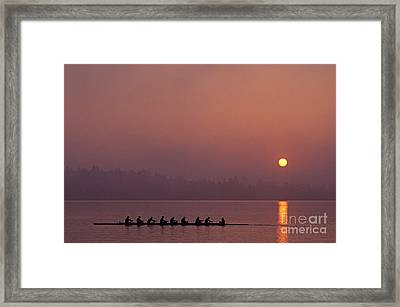 Eight Man Crew On Union Bay Silhouetted At Sunrise  Framed Print by Jim Corwin