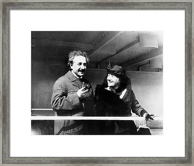 Einstein And His Second Wife Elsa Framed Print by Emilio Segre Visual Archives/american Institute Of Physics