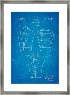 Einstein Blouse Waistcoat Patent Art 1936 Blueprint Framed Print by Ian Monk