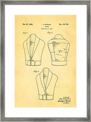 Einstein Blouse Waistcoat Patent Art 1936 Framed Print by Ian Monk