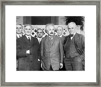 Einstein With Us Physicists Framed Print by Emilio Segre Visual Archives/american Institute Of Physics