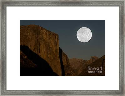 El Capitan And Half Dome Framed Print by Mark Newman