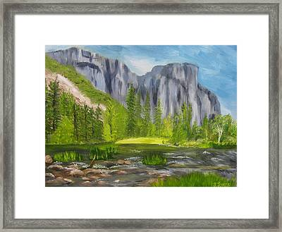 El Capitan And The River Framed Print by Sally Jones