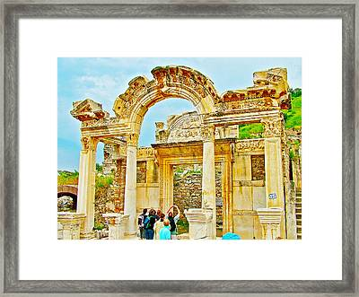 Elaborately Carved Arches In Temple Of Domitian In Ephesus-turkey  Framed Print by Ruth Hager