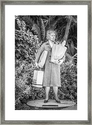 Elderly Shopper Statue Key West - Black And White Framed Print by Ian Monk
