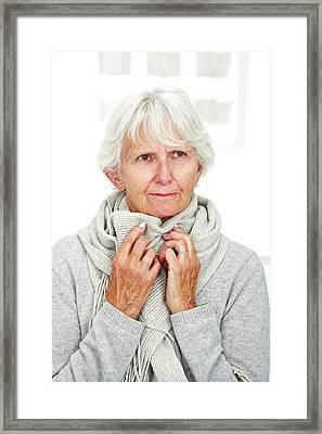 Elderly Woman Wearing A Scarf Framed Print by Lea Paterson