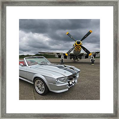 Eleanor Mustang With P51 Framed Print by Gill Billington