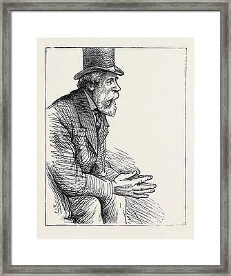 Election Sketches Unconvinced 1880 Framed Print by English School