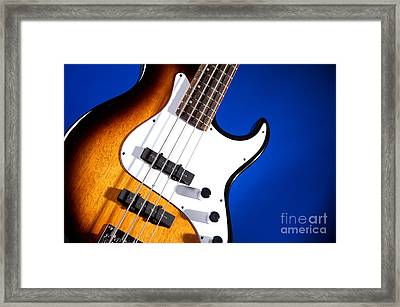Electric Bass Guitar Photograph On Blue 3322.02 Framed Print by M K  Miller