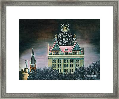 Electric City At Night Framed Print by Austin Burke
