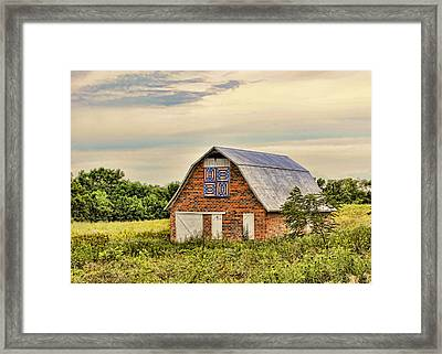 Electric Fan Quilt Barn Framed Print by Cricket Hackmann